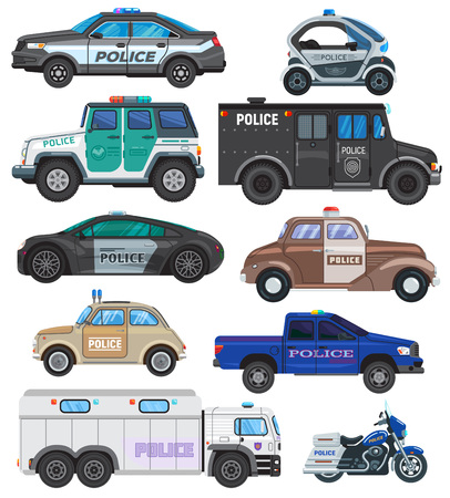 Police car vector policy vehicle and motorbike or motorcycle of policeman illustration set of police-officers transport and police-service auto van or truck isolated on white background. Vettoriali