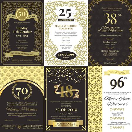 Carte vectorielle d'invitation d'anniversaire invitant à une fête d'anniversaire ou à un modèle de conception d'arrière-plan de célébration de mariage avec un ensemble d'illustrations de décoration vintage en or.