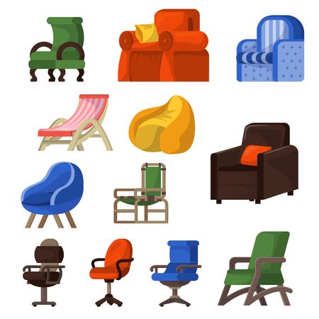 Krzesło wektor wygodne meble fotel i siedzisko w umeblowane mieszkanie zestaw ilustracji wnętrza firmy krzesło biurowe lub fotel na białym tle. Ilustracje wektorowe