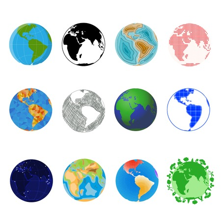 Earth planet vector global world universe and worldwide universal globe illustration worldly set of earthed sphere logo with continents and ocean isolated on white background