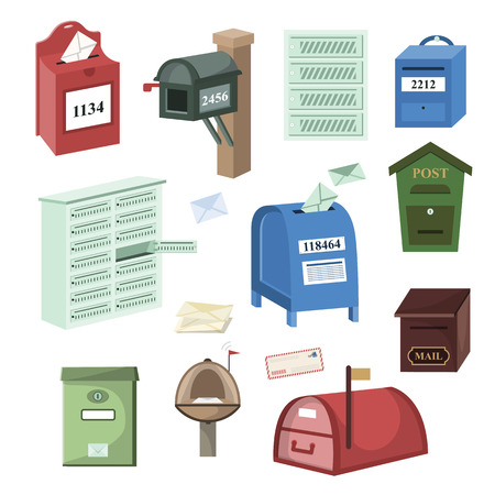Mail box vector post mailbox or postal mailing letterbox illustration set of postboxes for delivery mailed letters isolated on white background. Stock Illustratie