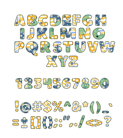 Alphabet patchwork vector handmade patch work ABC alphabetical font with fabric sewed letters and numbers illustration of sewing alphabetic or numeric set isolated on white background.