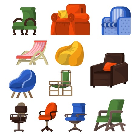 Chair vector comfortable furniture armchair and seat design in furnished apartment interior illustration set of business office-chair or easy-chair isolated on white background. Vettoriali