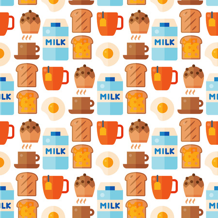 Breakfast healthy food meal icons seamless pattern background drinks flat design bread egg lunch healthy meat menu restaurant vector illustration. Cooking fruit kitchen utensils breakfaster snack. Ilustração