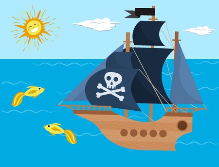 Pirate ship vector kids cartoon piracy backdrop with pirateboat or sailboat on seaside with island and palm illustration marine background for children.