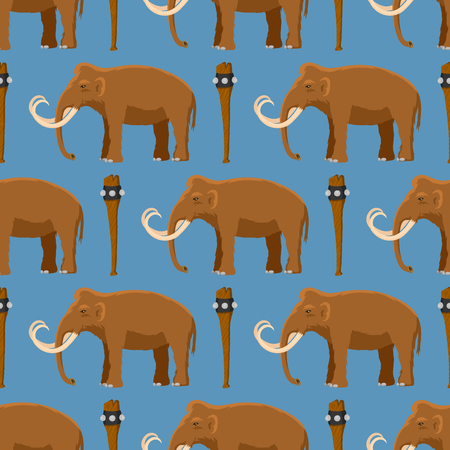 Mammoth vector mammal animal character with tusk and trunk in ancient stoneage illustration of prehistoric elephant isolated on white background