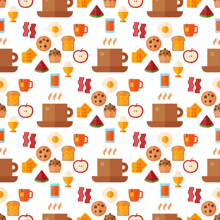 Breakfast healthy food meal icons seamless pattern background drinks flat design bread egg lunch healthy meat menu restaurant vector illustration. Cooking fruit kitchen utensils breakfaster snack. Banco de Imagens - 109929075