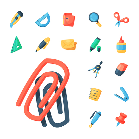 Stationery icons office supply vectorschool tools and accessories set education assortment pencil marker pen isolated on white background illustration. 向量圖像