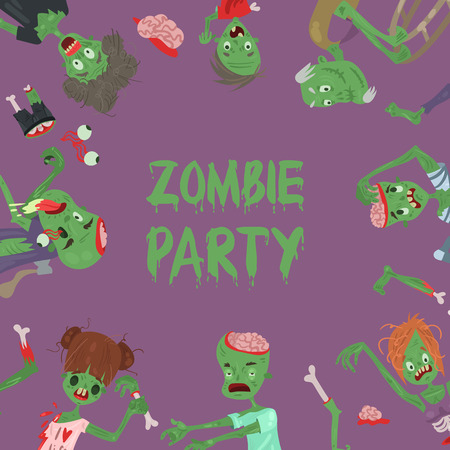 Vecctor zombie cartoon Halloween magic people body parts, green skin human organs Zombie man and woman character pattern party invitation background, monsters vector illustration. Stockfoto - 109681030
