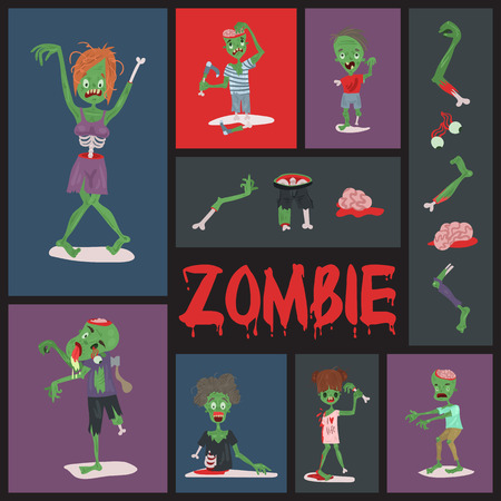 Vecctor zombie cartoon Halloween magic people body parts, green skin human organs Zombie man and woman character pattern party invitation background, monsters vector illustration. Stock Illustratie