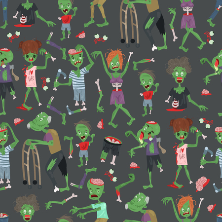 Vecctor zombie cartoon Halloween magic people body parts, green skin human organs Zombie man and woman character pattern party invitation background, monsters vector illustration. Illustration