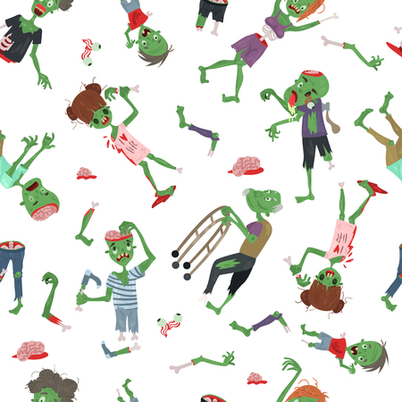Vecctor zombie cartoon Halloween magic people body parts, green skin human organs Zombie man and woman character pattern party invitation background, monsters vector illustration. Stockfoto - 109681033