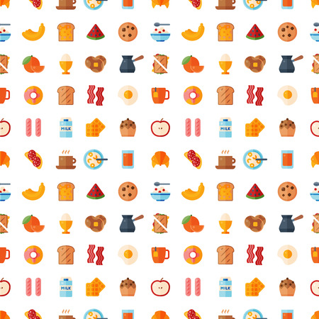 Breakfast healthy food meal icons seamless pattern background drinks flat design bread egg lunch healthy meat menu restaurant vector illustration. Cooking fruit kitchen utensils breakfaster snack. Illustration
