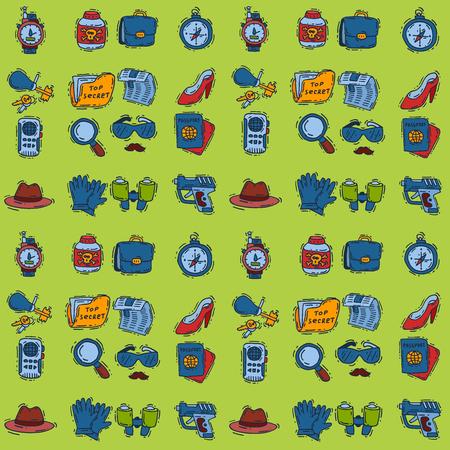 Spy icons vector cartoon detective set mafia agent binoculars or spyglass for spying or secret investigation illustration isolated on white background Standard-Bild - 109237507