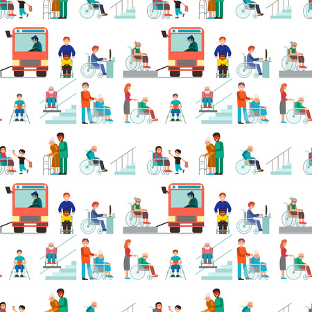 Disabled handicapped diverse people vector wheelchair invalid person help disability characters disable medical assistance seamless pattern background illustration. 스톡 콘텐츠