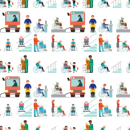 Gehandicapte gehandicapten diverse mensen rolstoel ongeldige persoon help handicap tekens medische bijstand naadloze patroon achtergrond vectorillustratie uitschakelen.