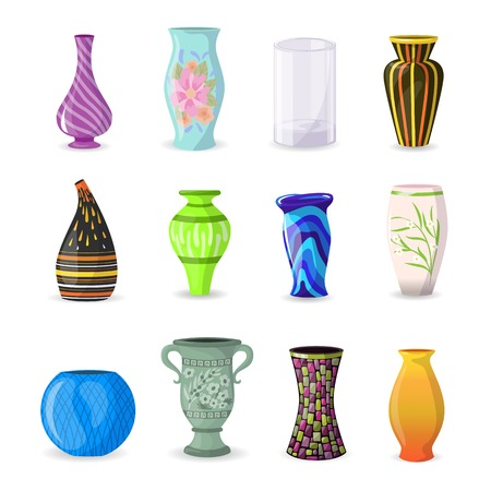 Vase vector decorative ceramic pot and decor modern pottery elegance vases illustration set of classic beautiful glass jar isolated on white background. Archivio Fotografico - 110845861