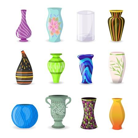 Vaso vettoriale vaso di ceramica decorativo e arredamento ceramica moderna eleganza vasi insieme dell'illustrazione del vaso di vetro bello classico isolato su priorità bassa bianca.