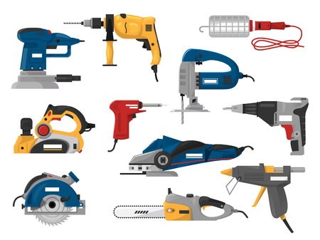 Power tools vector electric construction equipment circular-saw power-planer grinder illustration machinery set of screwdriver and electrical sander in toolbox isolated on white background. Illustration
