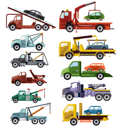 Tow truck vector towing car trucking vehicle transportation towage help on road illustration set of towed auto transport isolated on white background. Vettoriali