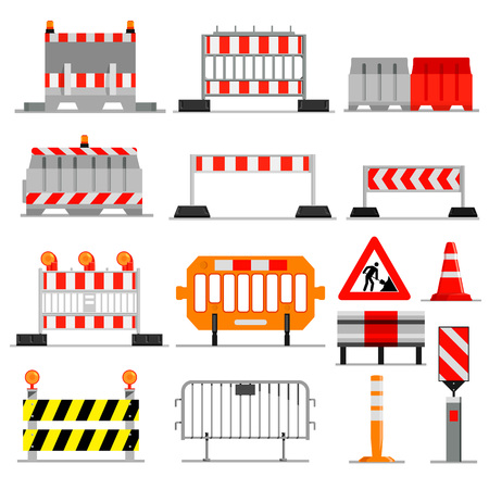 Road barrier vector street traffic-barrier under construction warning roadblock blocks on highway illustration set of barricade detour and blocked roadwork barrier isolated on white background.