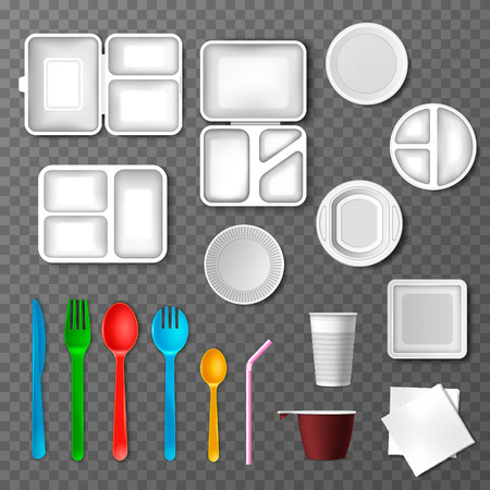 Plastic tableware vector picnic disposable cutlery spoon fork plate takeaway food containers and drinks in cup illustration set of empty kitchenware or dinnerware isolated on transparent background. Ilustrace