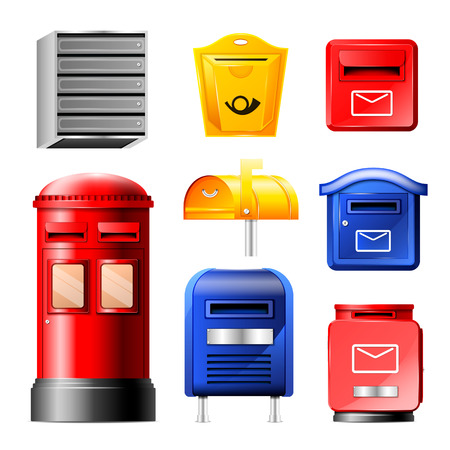 Mail box vector post mailbox or postal mailing letterbox illustration set of postboxes for delivery mailed letters in envelope isolated on white background.