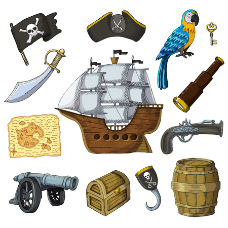 Piratic vector pirating sailboat and parrot character of pirot or buccaneer illustration set of piracy signs hat or sword and ship with black sails isolated on white background.