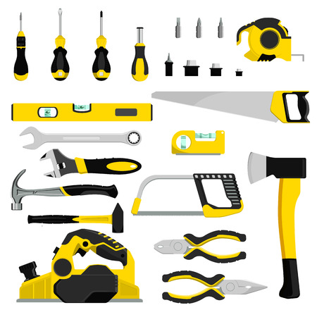 Hand tool vector construction handtools hammer pliers and screwdriver of toolbox illustration workshop industrial set of carpenters spanner and hand-saw isolated on white background