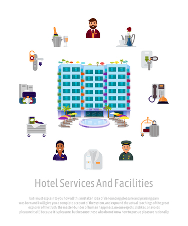 Hotel service staff facilities advertising banner. Vector illustration with administrator, housekeeper, waiter, waitress and receptionist vector illustration. Design professional occupation poster.