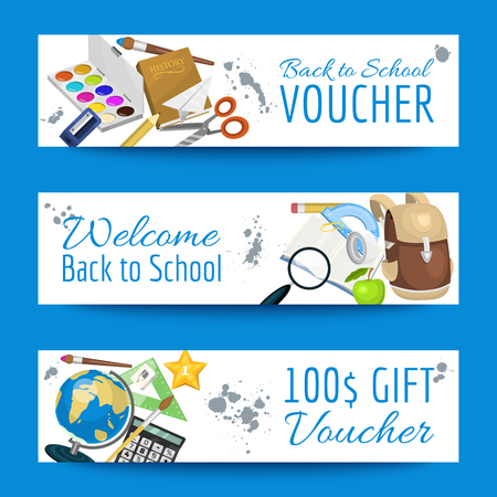 School items voucher background vector illustration. Back to School. Supplies scissors copybook pencil rubber calculator bell, clips, magnifier, magnet banner. Standard-Bild - 118811477