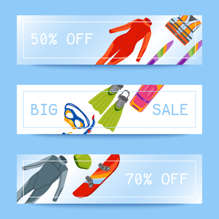 Summer water beach sea sports sale banners activities vector illustration. Active people watersport windsurfing, surfing, jet ski snorkel, scuba dive, tubing, ride speed boat and banana float tools. Illustration