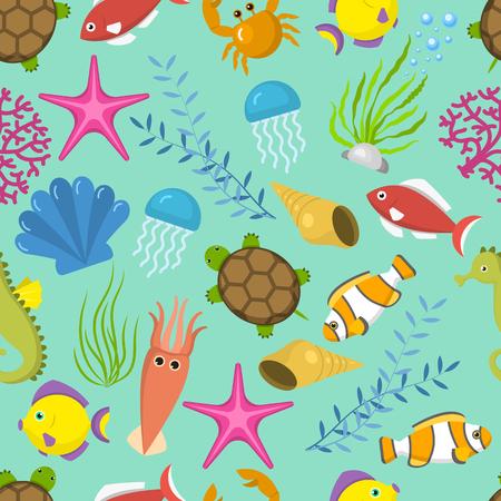 Seamless vector pattern with cute decorative fishes illustration. Funny multicolor background, marine texture underwater aquatic fishing animals. Aquarium or ocean nature turtle, starfish, seahorse.