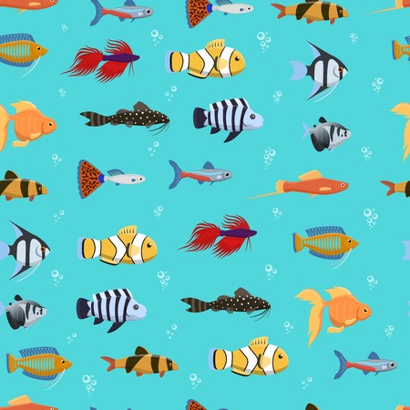 Seamless vector pattern with cute decorative fishes illustration. Funny multicolor background, marine texture underwater aquatic fishing animals. Aquarium or ocean nature.