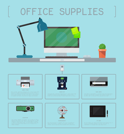 Office supplies poster group computer equipment seamless pattern. Laptop, monitor, tablet pc, printer web camera, cactus, lamp. Office electronics digital vector illustration. Ilustrace