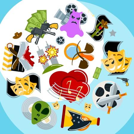 Film genres drama adventure detective pirate horror action background vector illustration. Genre cinema set icons cinematography comedy flat entertainment movie symbol. Illustration