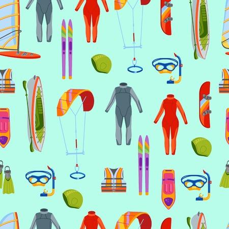 Summer water beach sea sports seamless pattern activities vector illustration. Active people windsurfing, surfing, jet ski snorkel, scuba dive, tubing, ride speed boat banana float tools. Illustration