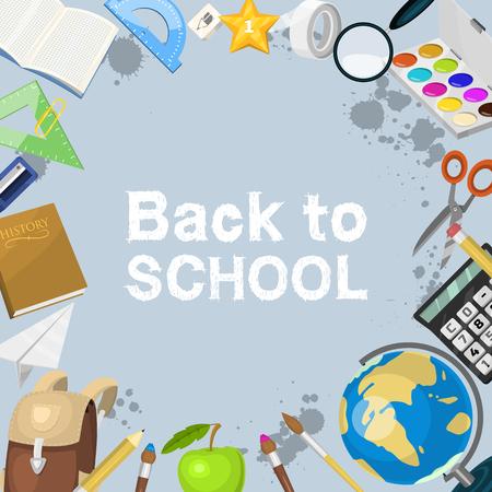 School items background vector illustration. Back to School. Supplies scissors copybook pencil rubber calculator bell, clips, magnifier, magnet banner or poster. Standard-Bild - 118811497