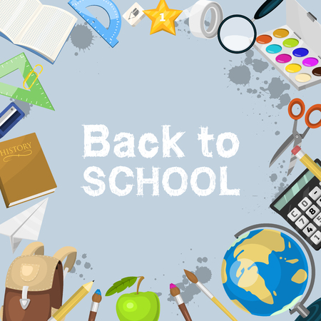 School items background vector illustration. Back to School. Supplies scissors copybook pencil rubber calculator bell, clips, magnifier, magnet banner or poster.