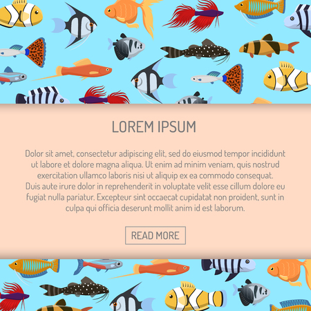 Marine aqua fish banner vector pattern with cute decorative fishes illustration. Funny multicolor background, marine texture underwater aquatic fishing animals. Aquarium or ocean nature. 向量圖像