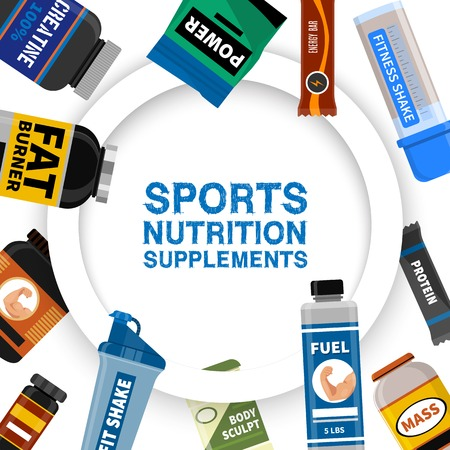 Sports nutrition supplement poster. Fitness. Protein shakers energy drinks. Vector illustration healthy food for bodybuilding power background. Athletic powder organic muscle nutritional food.