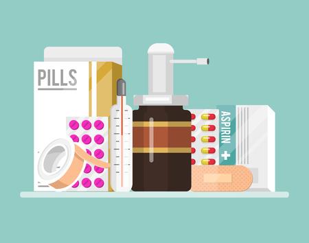 Medicine first aid kit shelf vial of medicine, and pills, hand sanitizer bottles, medical plaster, pipette. Vector illustration healthcare treatment