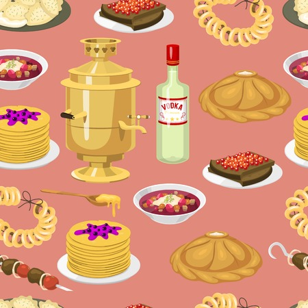 Seamless pattern with russian cuisine, traditional bagels culture food vector background. National russia menu culinary decoration. Caviar bread pastries bagel, vodka, binge, alcohol, food, treats.