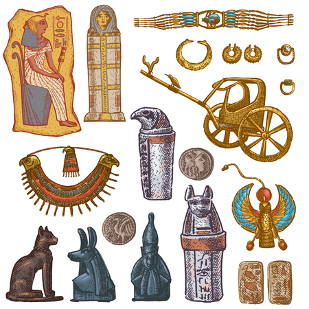 Egyptian vector ancient sarcophagus pharaoh jewelry sphinx cat statue of Egypt culture historical architecture in illustration set of archeology collection isolated on white background.