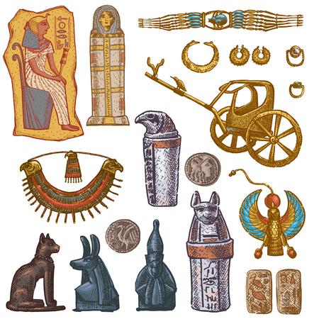 Vettore egiziano antico sarcofago faraone gioielli sfinge gatto statua dell'architettura storica cultura Egitto nel set di illustrazione della collezione di archeologia isolato su priorità bassa bianca.