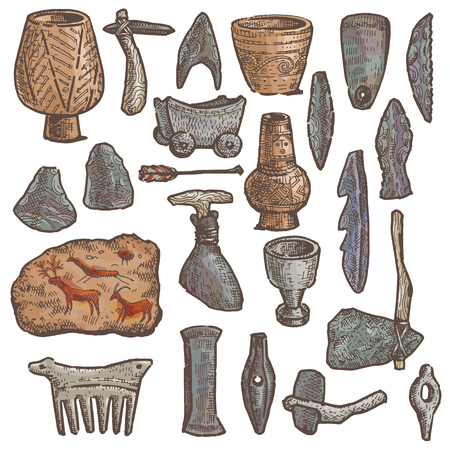 Stone age vector primitive cave weapon and neanderthal ancient stony knife and axe illustration stoneage set of hunting prehistoric dish toys isolated on white background.