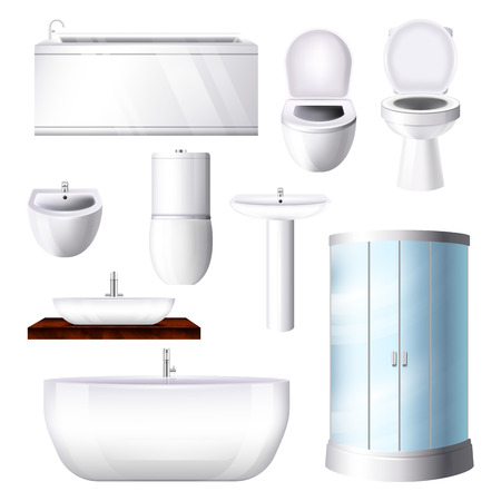 Bathroom interior vector bathtub sink shower toilet-bowl in bathhouse illustration set of shower-stall tub toilet-seat in bathing and toilet room isolated on white background. Illustration