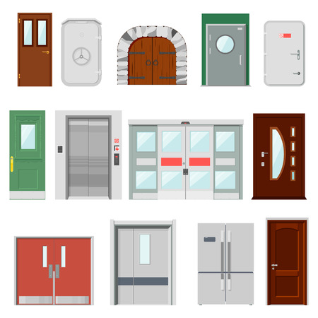 Doors vector doorway front entrance lift entry or elevator indoor house interior illustration set building doorpost doorsill and gate isolated on white background