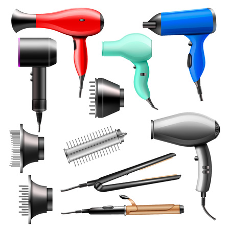 Hair dryer vector fashion hairdryer of hairdresser to blow-dry and electric hair-dryer blower illustration beauty set of barber styling appliance straightener curler isolated on white background. Ilustración de vector