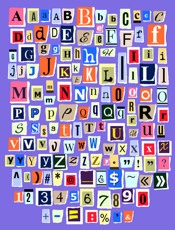 Alphabet collage ABC vector alphabetical font letter cutout of newspaper magazine and colorful alphabetic handmade cutting text newsprint illustration alphabetically typeset isolated on background.